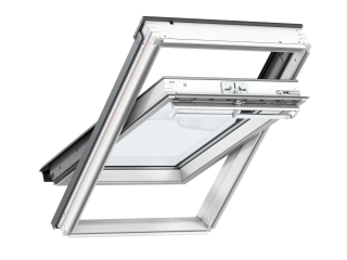 VELUX - GGL CK04 S10L01 - WP centre-pivot RW, insulated slate flashing, white duo-blackout blind
